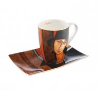 Kubek 12 cm z podstawka Artist Mug - Kobieta z kapeluszem - Amedeo Modigliani Goebel 67120011