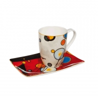 Kubek 12 cm z podstawka Artist Mug - Heavy Red - Wassily Kadyński Goebel 67100041