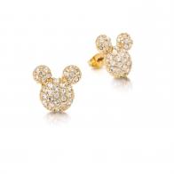 Kolczyki z kryształkami pozłacane - Myszka Mickey Couture Kingdom 12100711