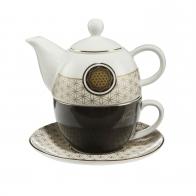 Zestaw Tea For One Yin Yang Czarny 15 cm 0,35 l - Lotus Goebel 23500031