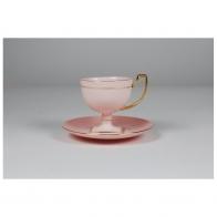 Filiżanka do espresso Matylda złote paski z różowej porcelany AS Cmielow