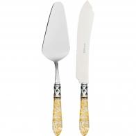Nóż i łopatka do ciasta przezroczysta złota - Aladdin Casa Bugatti ALC1G-N4220/21
