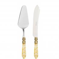 Nóż i łopatka do ciasta przezroczysta złota ze złotym pierścieniem - Aladdin