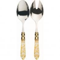 Łyżki do sałatek przezroczysta złota ze złotym pierścieniem- Aladdin