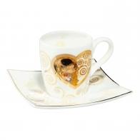 Filiżanka do espresso z podstawką 6,5 cm Heart Kiss - Gustav Klimt Goebel 67-011-82-1