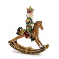 Ozdoba świąteczna Król na koniu bujanym - Voglia di Stupire 15,5 cm - Noel