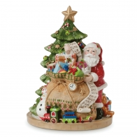 Ozdoba świąteczna pozytywka Św. Mikołaj z workiem prezentów Holiday Musical 15 x 15 x 18 cm - Fitz and Floyd