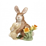 Figurka na rok 2020 Para króliczków z żonkilami 14 cm Goebel 66-844-49-1