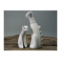 Figurka Kot zadumany, duży biały - Kazimierz Czuba