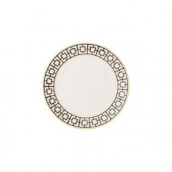 Talerz do pieczywa 16 cm biało-czarno-złoty - MetroChic
