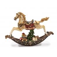 Ozdoba świąteczna - pozytywka Koń na biegunach z prezentami 39 x 26 cm - Les Carillon - Noel 1019010