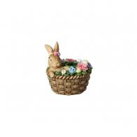 Świecznik zając w koszyku 8,6 x 8,6 x 9,2 cm - Bunny Tales