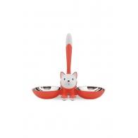 Podwójna miska dla kota Tigrito czerwona - A di Alessi