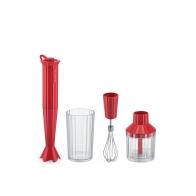 Zestaw Plissé czerwony 4 el. blender, trzepaczka, siekacz, pojemnik - Alessi