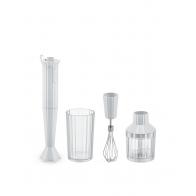 Zestaw Plissé biały 4 el. blender, trzepaczka, siekacz, pojemnik - Alessi