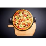 Zestaw do pizzy - gładki kamień 37 cm i łopatka, czarny - Emile Henry