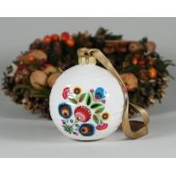 Bombka porcelanowa z dekoracją łowicką