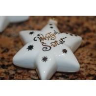 Gwiazdka porcelanowa z napisem Wesołych Świąt
