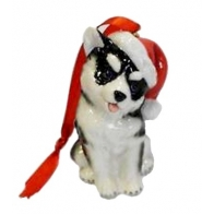 Figurka / ozdoba choinkowa - Pies Husky Holiday Greetings