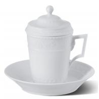 Zestaw - Kubek do kawy z pokrywką i spodkiem - Kurland