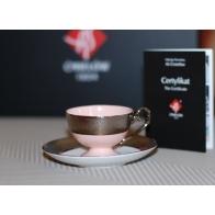 Filiżanka do espresso Prometeusz Królewska platynowa - różowa porcelana