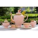 Serwis PROMETEUSZ POKOJU z różowej porcelany
