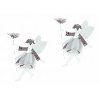 Wróżki z kwiatami purpurowo złote 9cm - zawieszki 2 sztuki