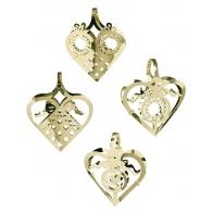 Miniaturki serca w złocie - 4 szt. zawieszki