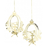 Ornament z ptraszkiem w złocie 2szt. - zawieszka 8,5cm