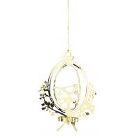 Ornament z ptaszkiem w złocie 18,5cm - zawieszka