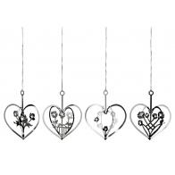 Srebrne serca z kwiatami w 4 wzorach - zawiszki