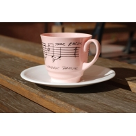 Filiżanka Włodek Pawlik z różowej porcelany