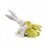Figurka - Mini Króliczki zakochane -zielony i biały - Bunny de luxe goebel