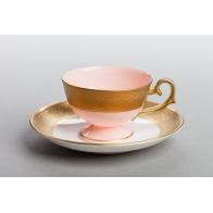 Filiżanka do espresso Prometeusz - Królewska złota - różowa porcelana AS Ćmielów