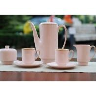 Serwis do kawy London złoty pasek z różowej porcelany Sklep AS Ćmielów