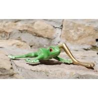 Figurka Żaba z długą łotą nogą - zielona, figurki z porcelany, as ćmielów sklep