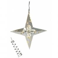 Gwiazda świecąca LED srebrna & czub na choinkę Jette Frölich 4086