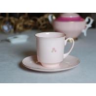 Filiżanka June - różowa porcelana z kawiatem AS Ćmielów