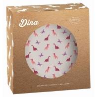 Zestaw dla dzieci 3 el. z porcelany Dina Różowe dinozaury Arzberg