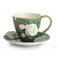 Zestaw z porcelany Filiżanka ze spodkiem i łyżeczką Van Gogh Białe Róże
