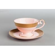 Filiżanka do kawy Prometeusz - Królewska złota - różowa porcelana