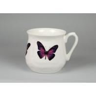 Kubek śląski Fioletowy Motyl 0,5l (duży) AS Cmielow porcelana polska