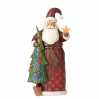 Figurka Mikołaj z choinką i gwiazdką 21cm Jim Shore 4058765 enesco Heartwood Creek