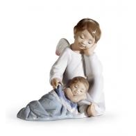 Figurka Z PORCELANY Opiekuńczy Anioł (błękitnyy) 14cm 01006961 LLADRO