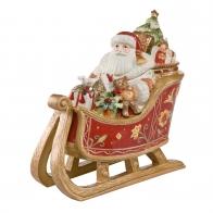 Figurka Puzdro z porcelany Mikołaj w saniach 33cm 51000291 Goebel