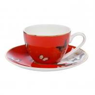 Filiżanka do espresso 0,10l - Czerwone Lilie Joanna Charlottec Lilies Red - Demitasse 26150381 spodek