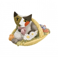 Figurka 7 cm Kot w koszu z kwiatami Rosina Wachtmeister Goebel 31332018