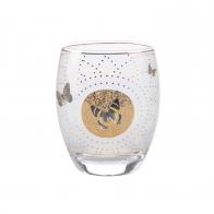 Świecznik - tealight 10 cm - Szare Motyle na białym tle - Joanna Charlotte Goebel 26150431