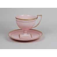 Filiżanka do kawy Matylda złote paski z różowej porcelany